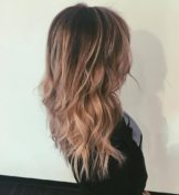 back of woman's wavy hair