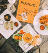 top view of food on outside table