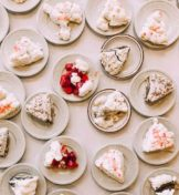 top view of many plates of pie