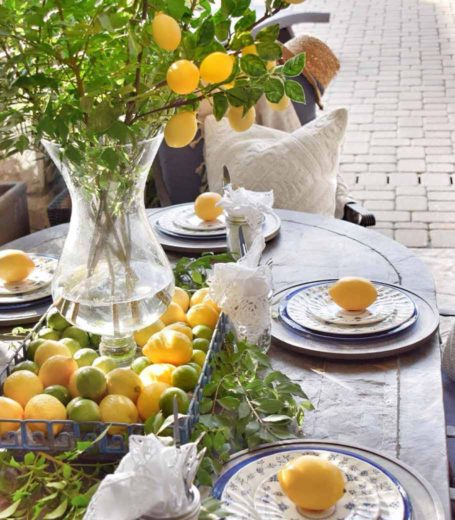 place setting outside with lemons and limes