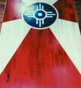 wood panel painting of Wichita flag
